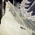 High Quality Elegant 2.5M Lace Wedding Veils 2015 Hot Sale Long Applique Ivory Bridal Veils Formal Women Wedding Accessories V42