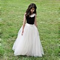 Beige Long Tulle Skirt For Little Pretty Girl Fashion Floor Length Skirts Elastic Style Girl Back To School Or Wedding Party
