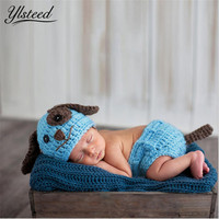 Newborn Baby Photography Props Knit Kawaii Baby Blue Dog Costume Set for Photo Shoot Infant Photo Outfits Baby Boy Photo Props