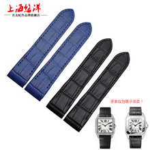 New 20 23MM Black Brown Genuine Leather Strap For SANTOS 100  Chronograph Watch Band  Women Men + Tools without buckle