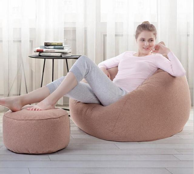 US $75.0 |Cover only No Filler WITH OTTOMAN LARGE size adults linen bean  bag chair, home sofa furniture, Good quality beanbag seat sack-in Living  Room ...