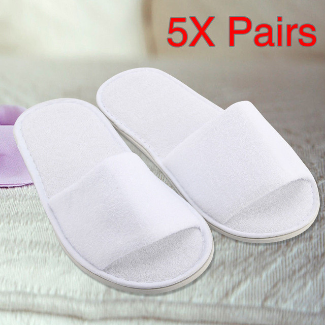 Hotel Disposable slippers 5 Pairs Spa Hotel Guest Slipper Open Toe Towelling Disposable Terry Style Breathable Soft White Shoes