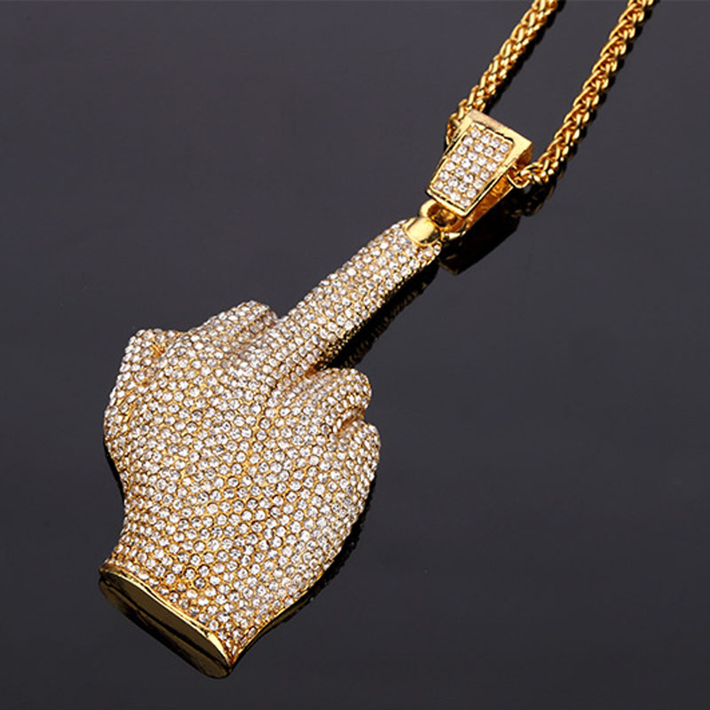 New Coming Golden Rock and Roll Middle Finger Pendant Rhinestone Iced Out Hip Hop Necklace Empire Chain Jewelry Gift
