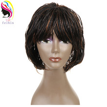 Feibin örgülü peruk Kısa Afro Büküm sentetik örgü saç Peruk Ücretsiz Kargo B195