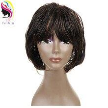 Feibin плетеные парики Короткие афро Твист Синтетические плетеные волосы парик Бесплатная доставка B195