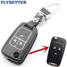 FLYBETTER New ABS Material Genuine Leather 3Button Flip Key Case Cover For Chevrolet Cruze Car Styling