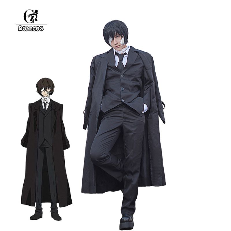 ROLECOS Brand New Bungo Stray Dogs Cosplay Costumes Black Trench Suits Dazai Osamu Cosplay Costumes