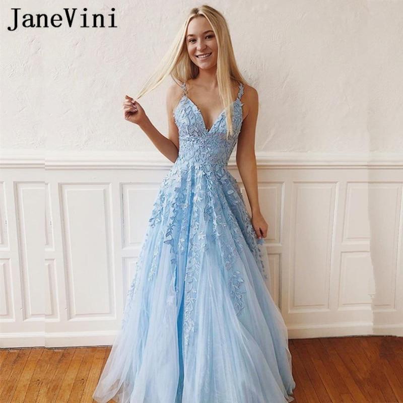 JaneVini Charming Light Sky Blue Tulle Plus Size Prom Dresses V Neck Lace Appliques Backless A Line Prom Long Elegant Dresses