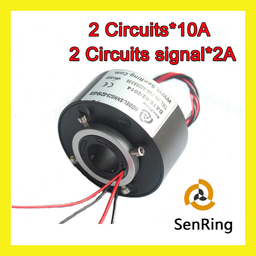 Through hole slip ring with bore size (1) 25.4mm 2 circuits 10A+2 circuits signal 2A mercury slip ring 1 pole 50a