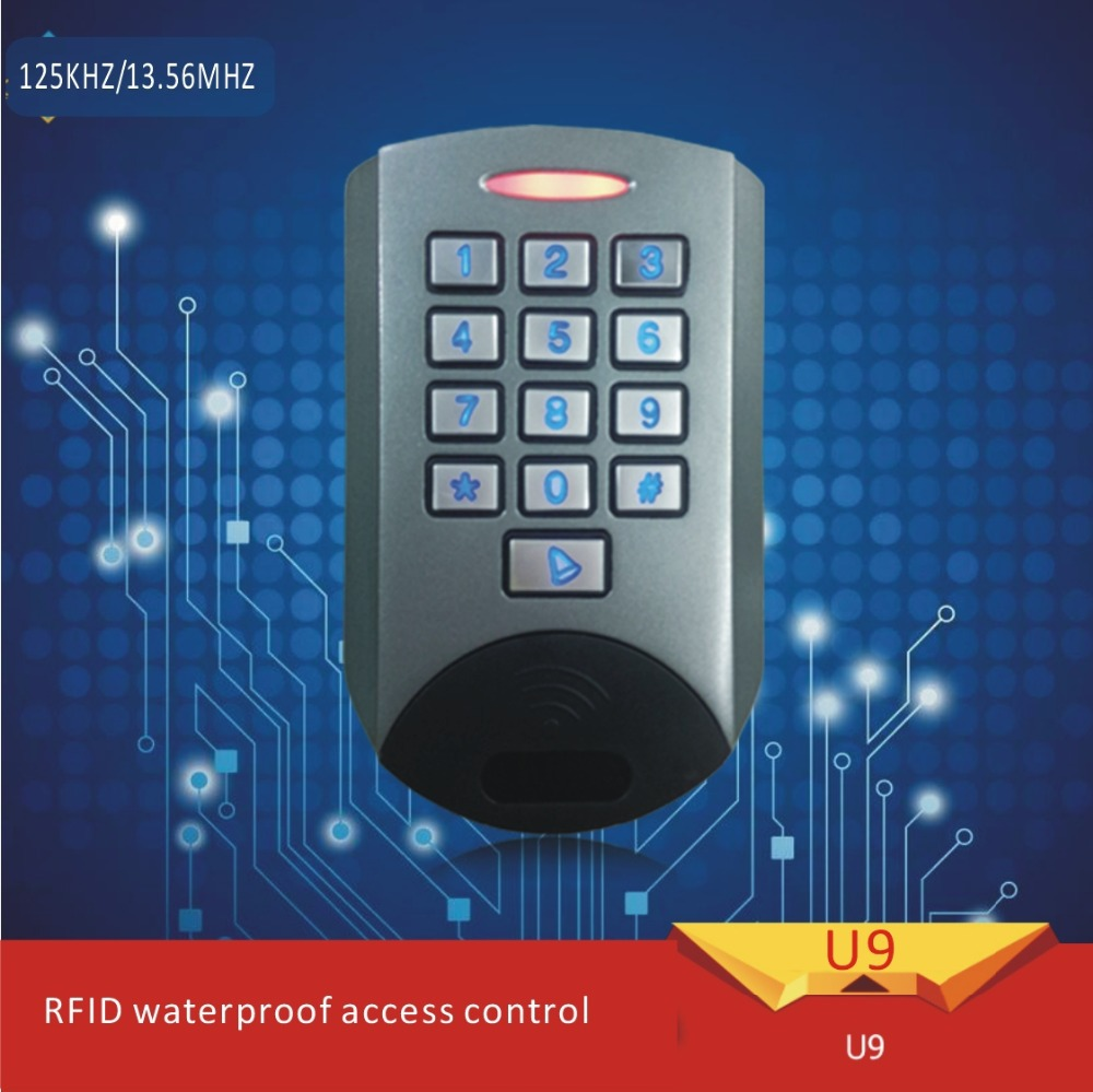 Free shipping U9 metal shell password access control system for EM125KHZ RFID DC-12V +10 pcs crystal keytags