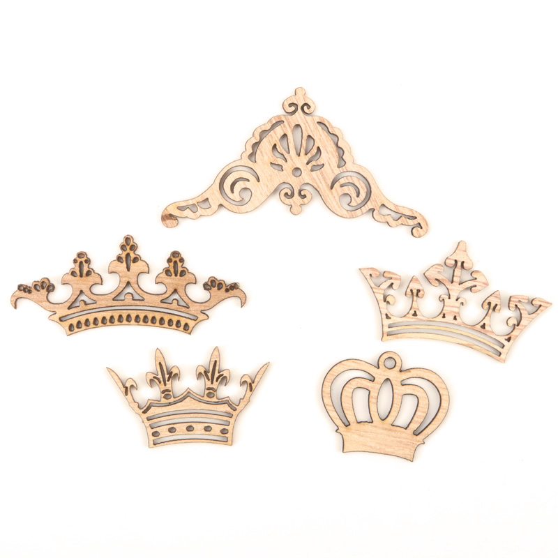 Mix Wooden Crown Pattern Scrapbooking Painting Collection Craft Handmade Accessory Home Decoration DIY 38-82mm 10pcsMix Wooden Crown Pattern Scrapbooking Painting Collection Craft Handmade Accessory Home Decoration DIY 38-82mm 10pcs