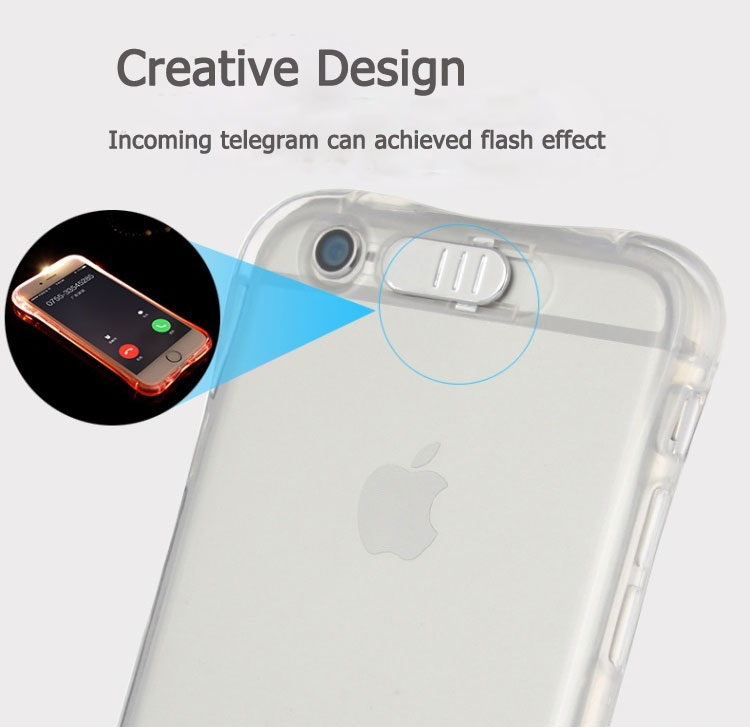High Quality Transparent Luminous LED Flash Back Cover Shell For iPhone Models 16