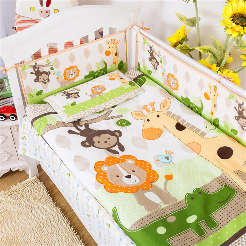 9pcs Cotton Baby Cot Bedding Set Newborn Cartoon Baby Crib Kids Bedding Kit Detachable Quilt Pillow