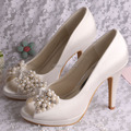 Customized White Satin Peep Toes High Heels Large Size Wedding Shoes Pearl Crystal
