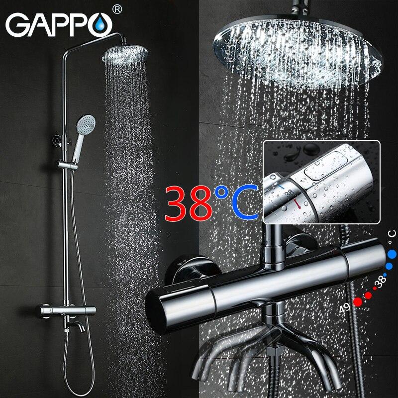 GAPPO salle de bains douche thermostat robinet mitigeur montage mural thermostatique mélangeur de douche avec douche robinets Sanitaires Suite