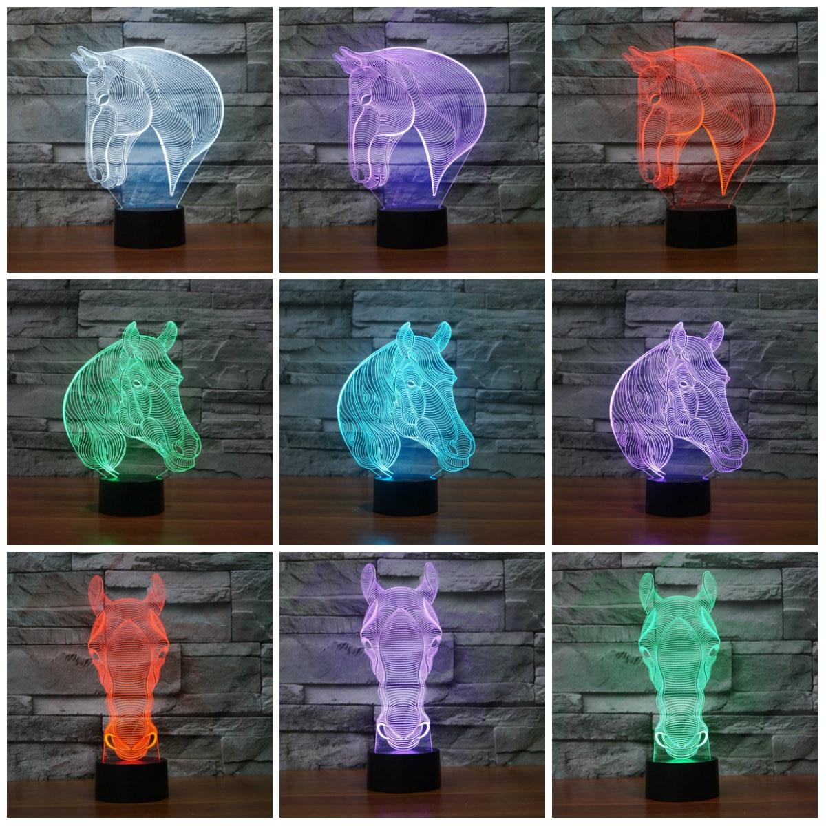 สร้างสรรค์ 7 สีเปลี่ยนคริลิคม้า Led Nightlights 3D LED โต๊ะโต๊ะโคมไฟ USB โคมไฟข้างเตียงม้าตกแต่งแสง IY803232