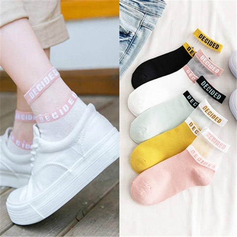 KingDeng Women Socks Fashion Design Harajuku Color Simple Splice Transparent Ankle Funny Cute Summer Short Korean Style Sock