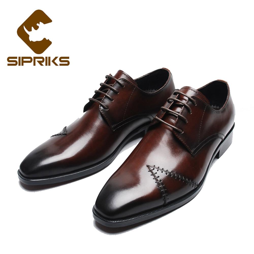 Sipriks de luxe véritable robe en cuir chaussures pour hommes unique designer derby chaussures rouge brun costumes hommes chaussures européenne patron flas nouveau