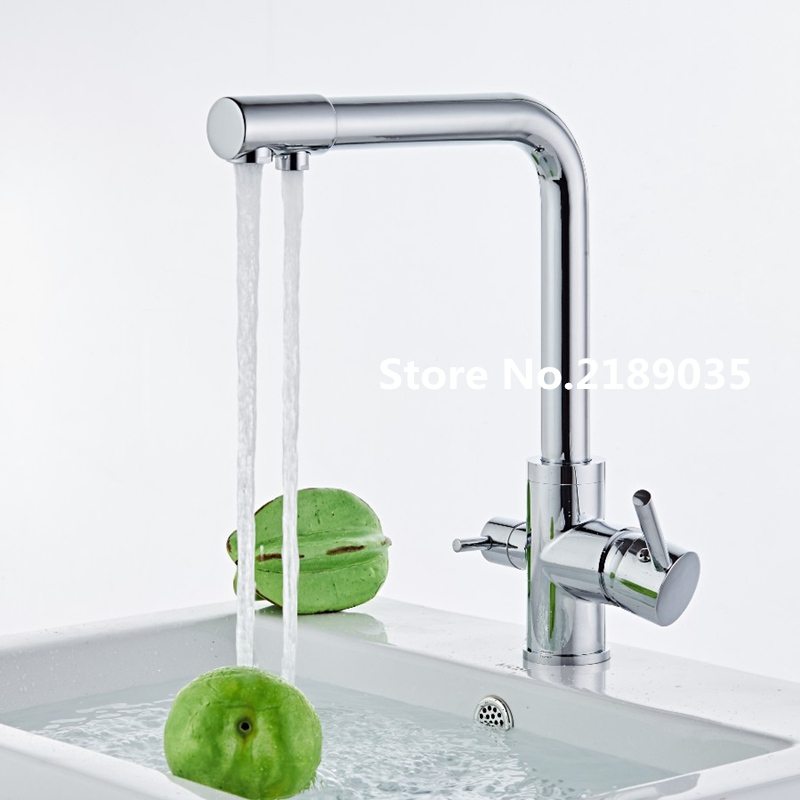 the Chrome Finish Solid Brass kitchen faucet with mixer hot and cold water tap Three Way