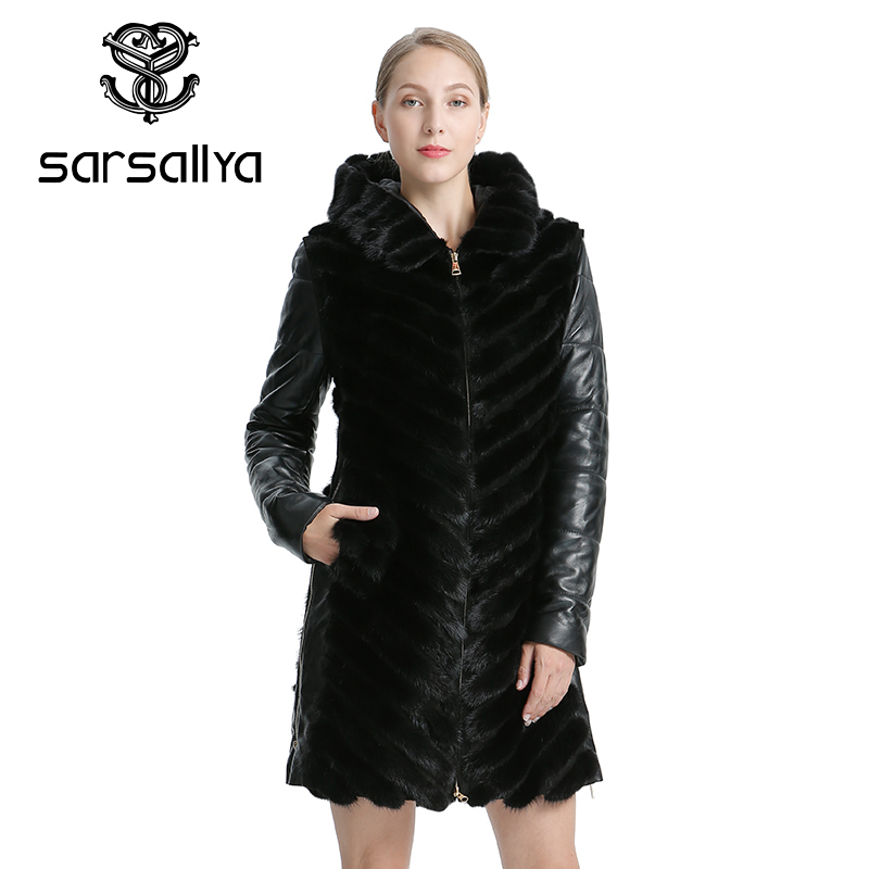 SARSALLYA Natural Mink Coat Jacket Woman s Winter Jackets Detachable Leather Real Fur Coat Women Clothing