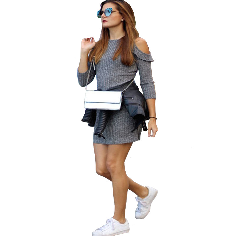 Gray Knitted Dress Casual Sporty women 2017 Ruffles Cold Shoulder Mini dresses Self-cultivation Bodycon dress woman Party Dress stylish cami stripe spliced flounce ruffles cold shoulder women s dress
