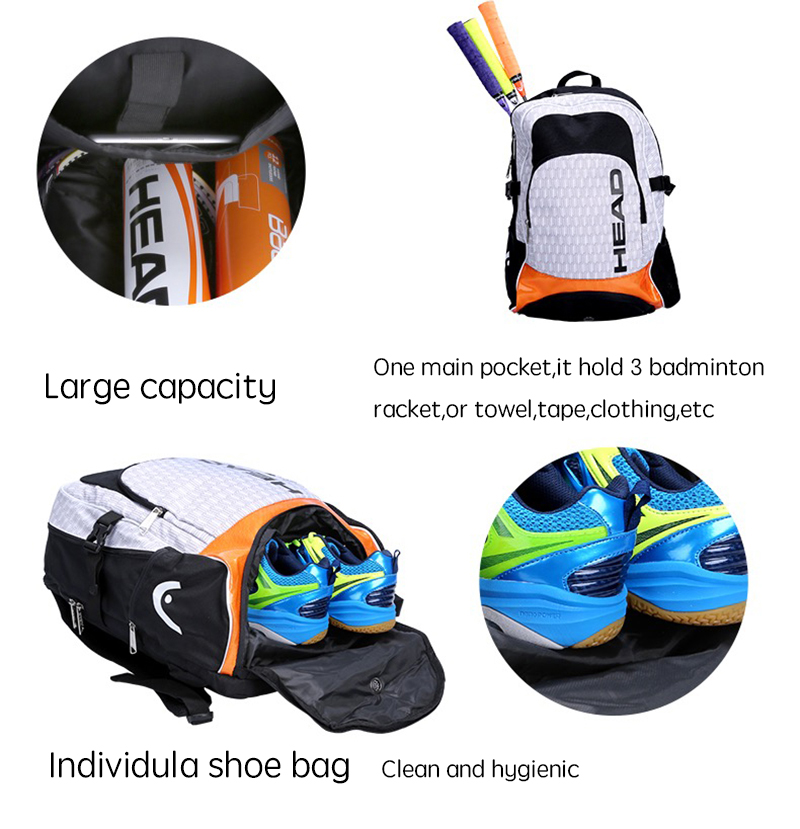 63d40ceb5c4 Flagship Type Head Badminton Rackets Backpack Max 3 Rackets In And Clothing  With Individual Shoes Bag Also For Tennis RacketsUSD 34.66 piece