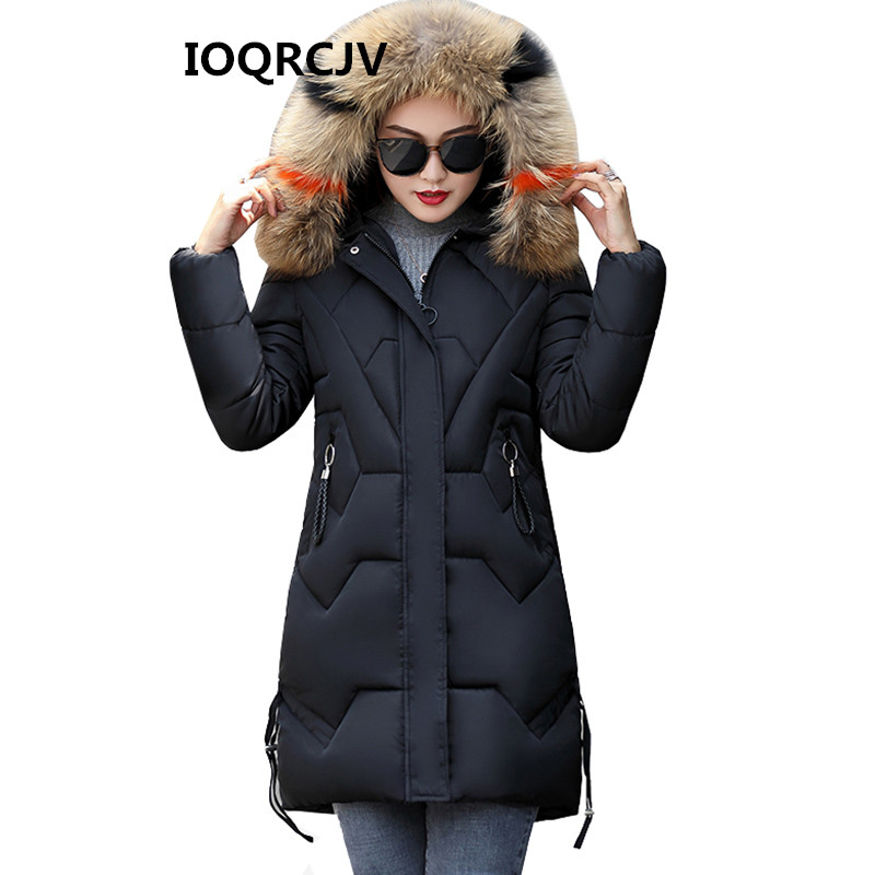 New 2019 Winter Down Cotton Jacket Women Coats Fake Fur Hooded Outerwear Thick Wear Cotton Padded Jackets Female   Parkas   3XL 338