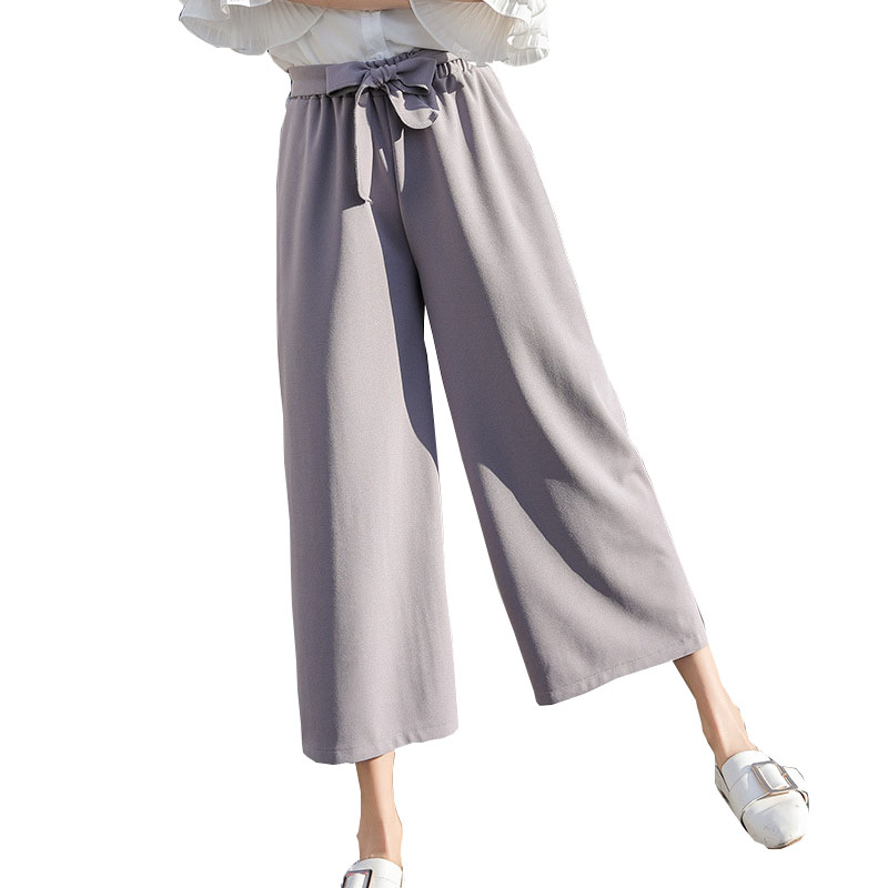 ZADORIN 2018 Women Elastic High Waist Chiffon   Wide     Leg     Pants   Elegant Bow Tie Loose Casual Lace Up   Pants   Black Khaki Trousers
