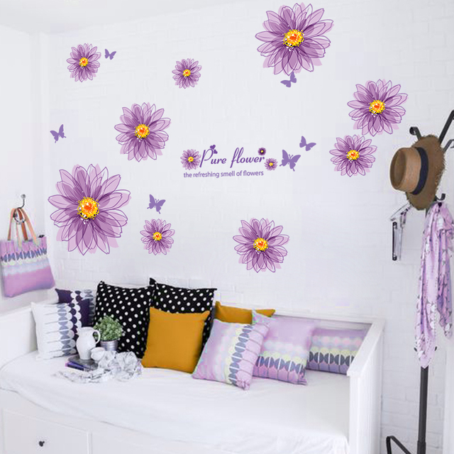 Purple Romantic Big Flower Wall Stickers Home Decor: [SHIJUEHEZI] Purple Color Flower Wall Sticker Bloom Wall