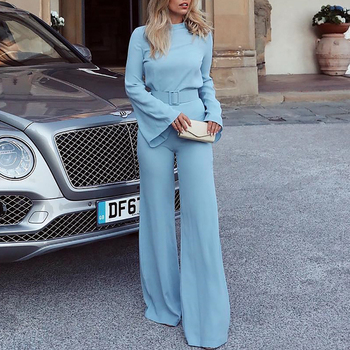 2019 Spring Women Fashion Elegant Office Workwear Casual Jumpsuits High Neck Bell Sleeve Wide Leg Romper With Belt 1