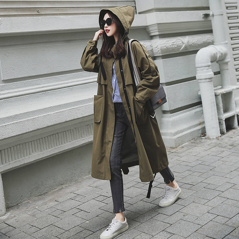 new Fashion 2019 Spring Autumn Women Casual Oversized Large pockets Loose Long   Trench   Coat Chic Female Windbreaker X542