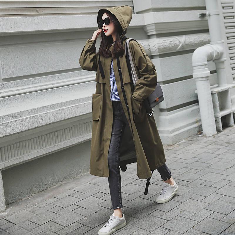 New Fashion 2020 Spring Autumn Coats Women Casual Oversized Large Pockets Loose Long Trench Coat Chic Female Windbreaker X542