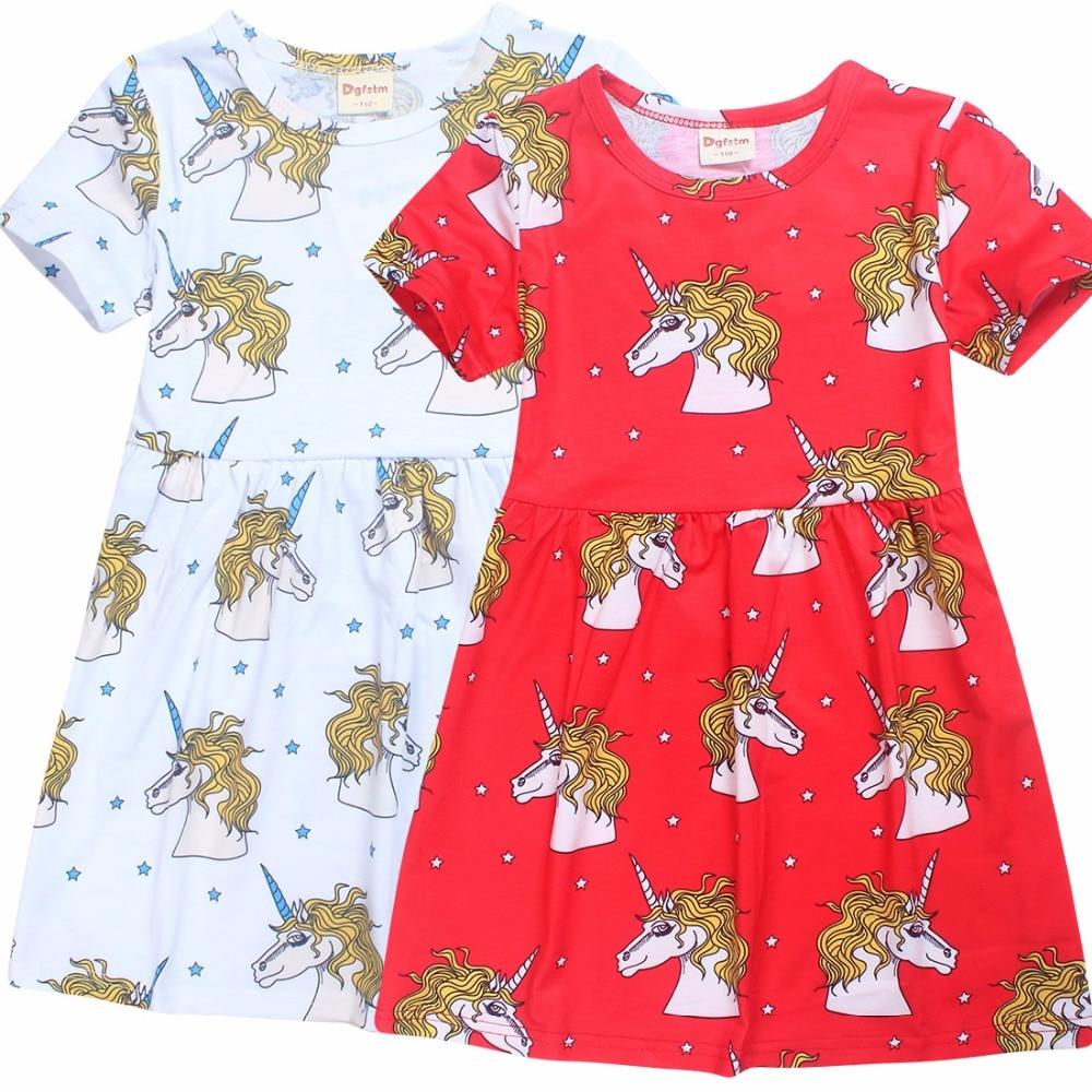 2018new Cartoon horse Girls Dress Children Clothing Kids Party Dress For Summer Girls Princess Dresses Girl Clothes 6-10 Years