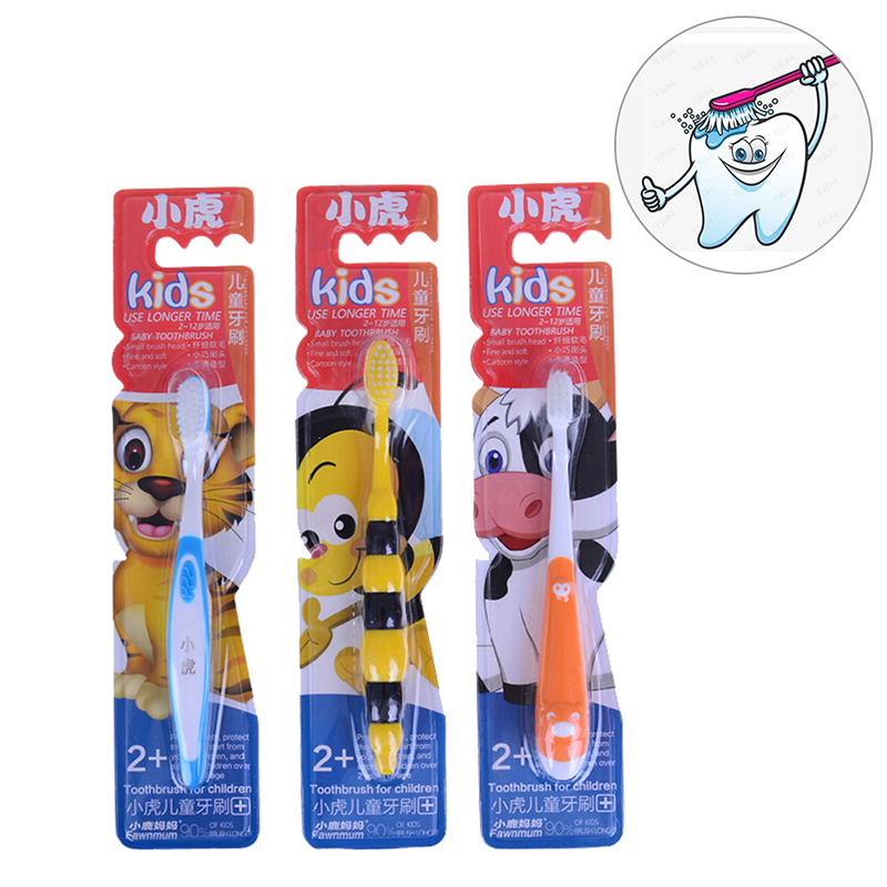 Cute Baby Oral Hygiene Soft Teeth Tooth Brush Children Toothbrush Mouth Clean Teether Tongue Clean for Children Kids 3 Colors image