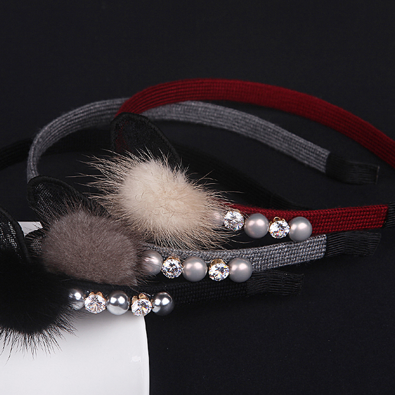 Luxe lapin fourrure perle bandeaux fille lapin oreille femmes bandeaux doux dentelle chapeaux fille cheveux clips tête cerceau cadeau pour fille