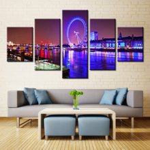 5 Pieces Fountain Ferris Wheel Tower Landscape Modern Home Wall Decor Canvas Picture Art HD Print Painting On Canvas Artworks