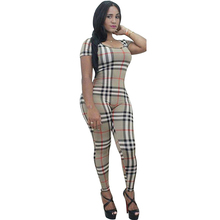 2016 Summer Women Tattoo Print Vintage Retro Elegant Skinny Full Length Club Party Tartan Jumpsuit Rompers Bodysuit Overalls