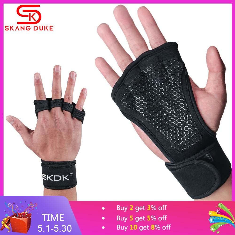 Levantamiento de pesas guantes gimnasio de entrenamiento empuñaduras de Fitness de los hombres y las mujeres Crossfit culturismo gimnasia pulseras palma de mano Protector