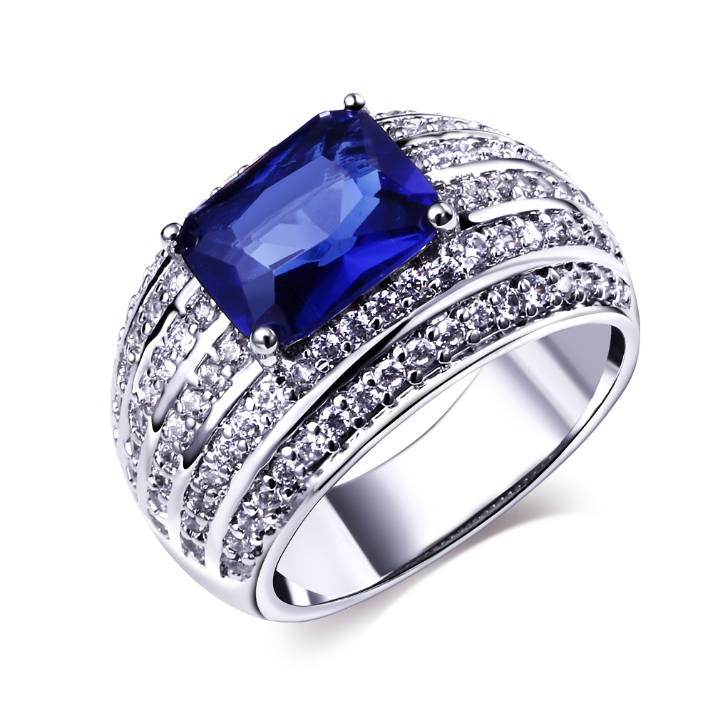 New Deisign Finger Ring For Women Luxury Aaa Cubic Zirconia Pave Setting Blue Stone Office Career Fashion Jewelry Lead Free In Rings From