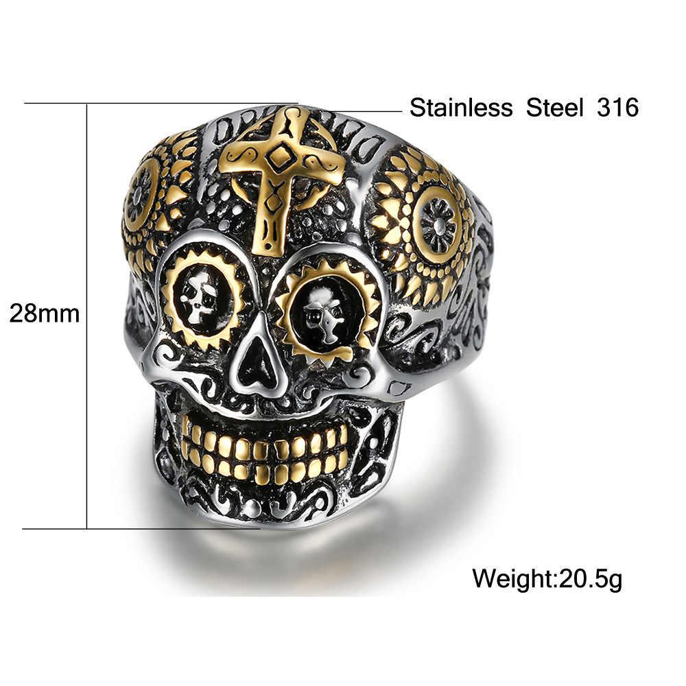 Moda Homem Fresco Crânio Cruz Anel de Aço de Titânio Anel de Dedo do Aço Inoxidável