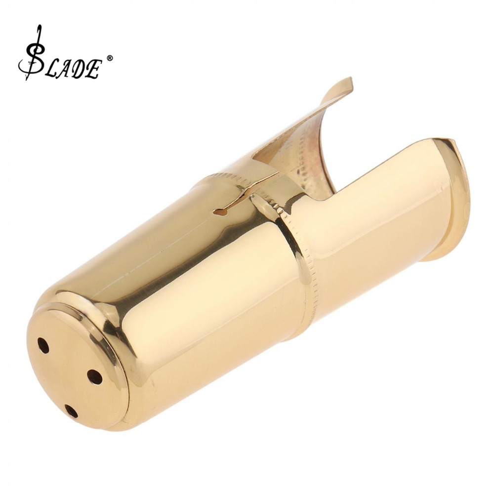 Alto Saxophone Mouthpiece Cap Brass Gold  Plated Protective Cap For Leather Sax Mouthpiece Metal Ligature