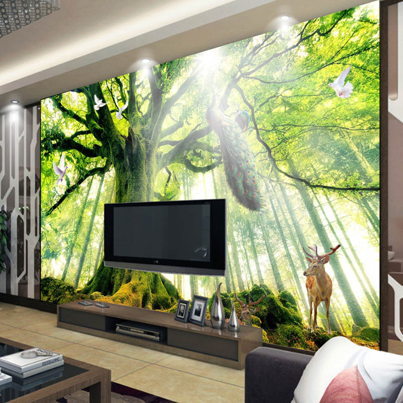 Buy tree woods forest photo wallpaper for Deer landscape wall mural