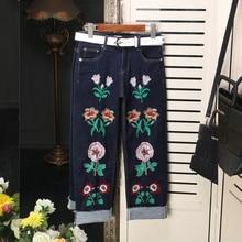 Европейские и Американские Новая Мода Джинсы 2017 Весенний Цветок Вышивка Пояса Довольно Тонкий Женщины Прямо Пят Брюки