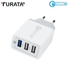 Turata Универсальный Quick Charge QC3.0 адаптер USB Зарядное устройство Smart 3 Порты и разъёмы Desktop Зарядное устройство мобильного телефона путешествия Зарядное устройство для смартфонов