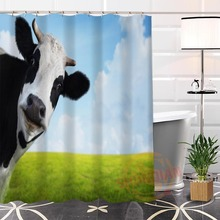 100% Polyester Custom Popular Cows Fabric Modern Shower Curtain bathroom Waterproof New arrival H0223-42