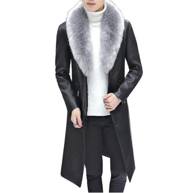 2019 New Winter Blazer Fur Collar Long Section Men Fur Coat Men's Business Casual Leather Jacket Fleece Warm Thick Overcoat