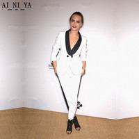 CUSTOM MADE Women Busines Suits 2 Piece Pantsuit Ladies Office Uniform Female Trouser Suits Black Satin Lapel White Women Suits