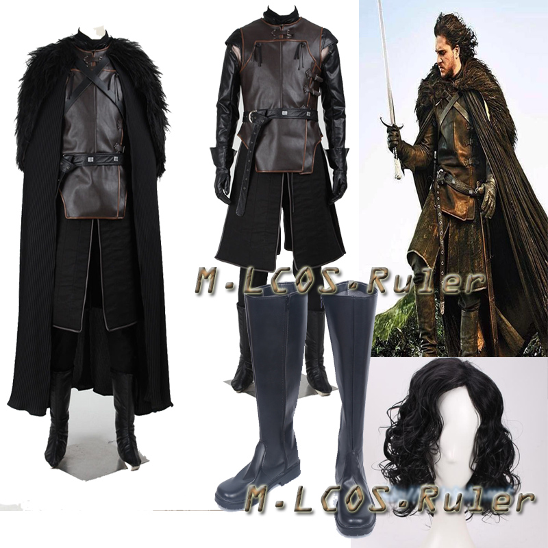 Game of Thrones Jon Snow Cosplay Costume Only Cape and Feather Shawl Accessories Halloween High Quality