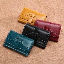 New ladies leather multi-card wallet short student Korean cute folding buckle purse