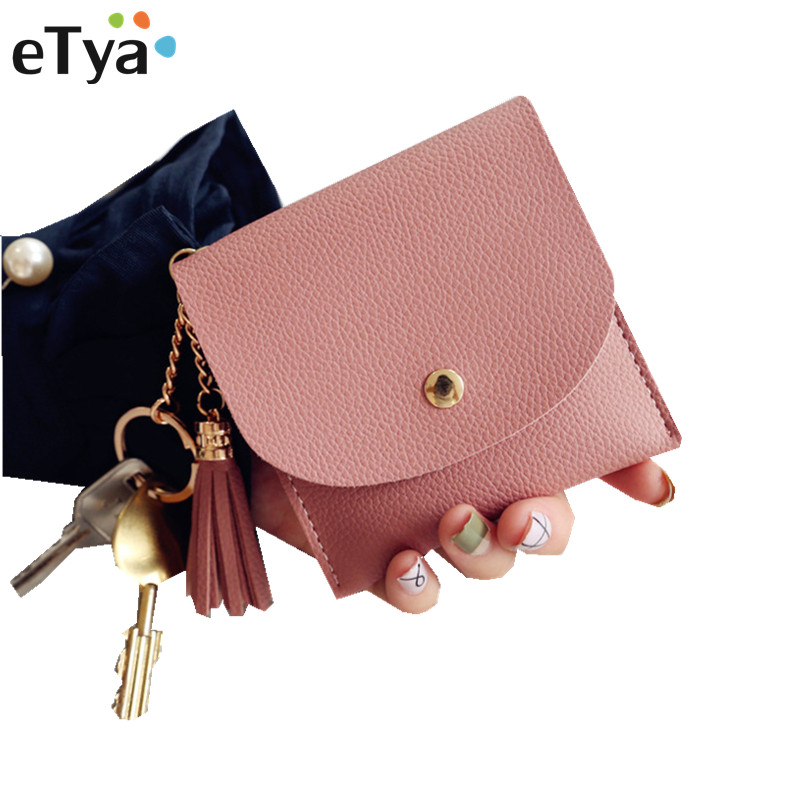 eTya Pu Leather Women Slim Wallet Purses Fashion Tassel Hasp Short Clutch Small Chain Coin Key ID Card Holders Wallet Bags